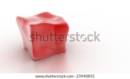 Red melting cube.