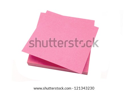 Red memo paper isolated on white background