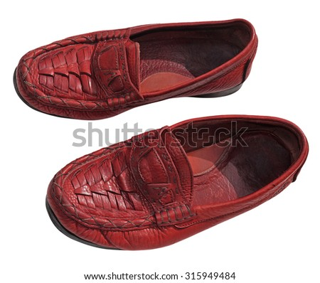 Red men genuine leather shoes - stock photo