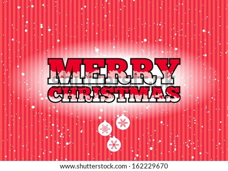 Red Merry Christmas sign with snowflakes and baubles - stock photo