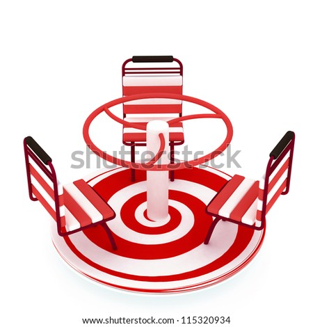 Red Merry-go-round isolated over white with spiral - stock photo