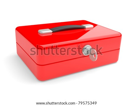 Red metal box with key and lock on a white background