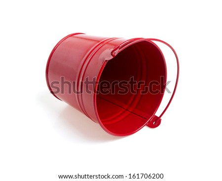 Red metal bucket isolated on a white background  - stock photo