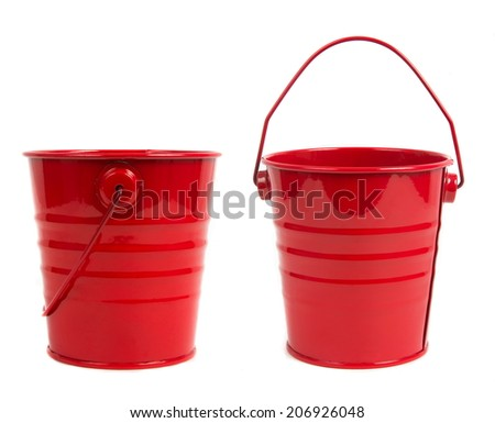 red metal buckets over white - stock photo