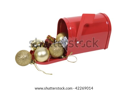 metal mailbox flag. Red Metal Mailbox With Signal Flag Full Of Christmas Cheer - Path Included W