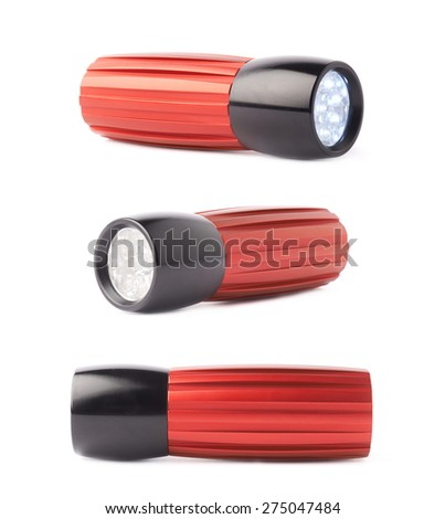 Red metal pocket flashlight isolated over the white background, set of three foreshortenings - stock photo