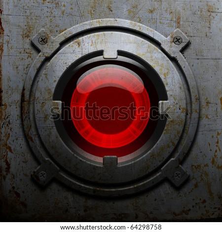 Red metal robot eye - stock photo