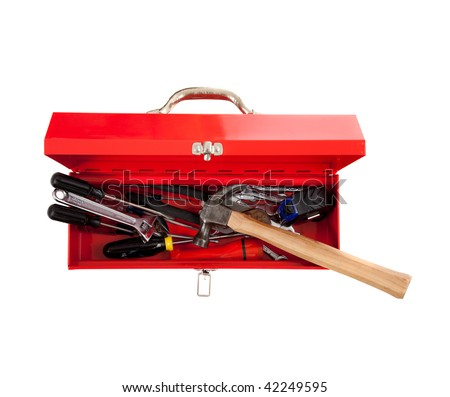 Red metal tool box with tools including hammer, tape measure, wrench, screwdriver on a white background - stock photo