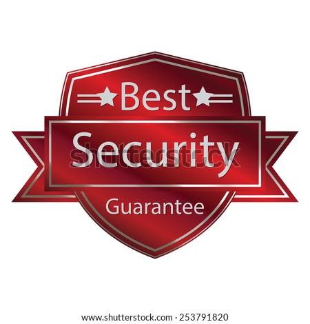 red metallic best security guarantee shield with ribbon sticker, banner, sign, icon, label isolated on white - stock photo