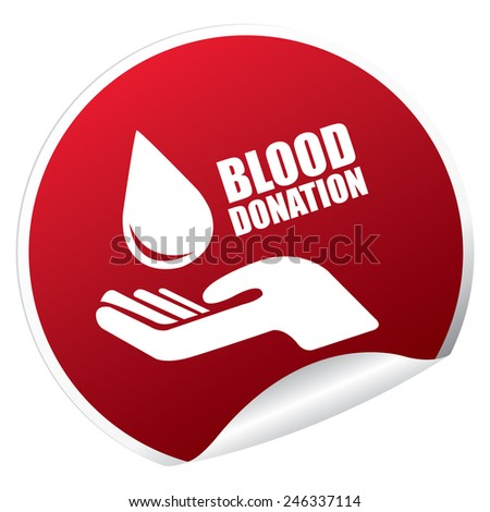 Red Metallic Blood Donation Sticker, Icon or Label Isolated on White Background  - stock photo