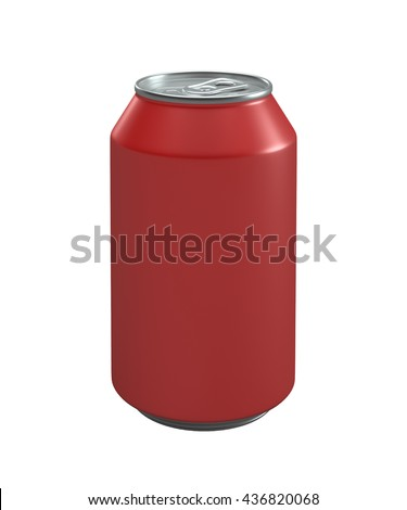 Red metallic can isolated on white background.3D illustration