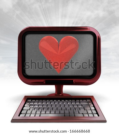 red metallic computer with love symbol with background flare illustration