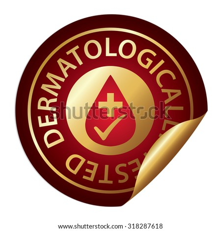 Red Metallic Dermatologically Tested Infographics Peeling Sticker, Label, Icon, Sign or Badge Isolated on White Background  - stock photo