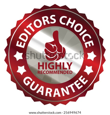 red metallic editors choice guarantee highly recommended sticker, sign, badge, icon, label isolated on white - stock photo