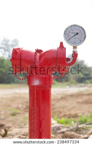 red metallic fire hydrant with pressure gauge or Fire Department Connection on street - stock photo