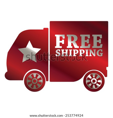 red metallic free shipping sticker, sign, badge, icon, label isolated on white - stock photo