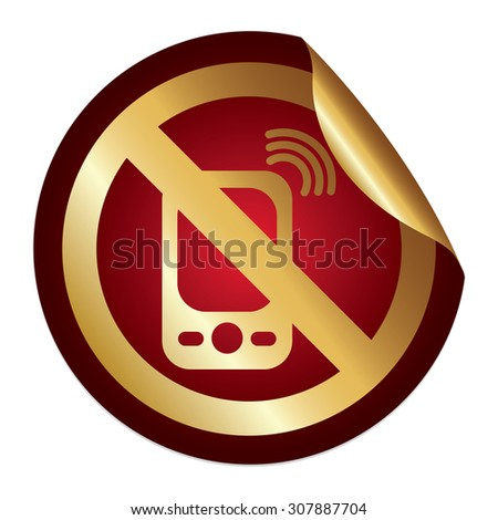 Red Metallic No Mobile Phone Prohibited Sign Infographics Peeling Sticker, Icon or Label Isolated on White Background  - stock photo