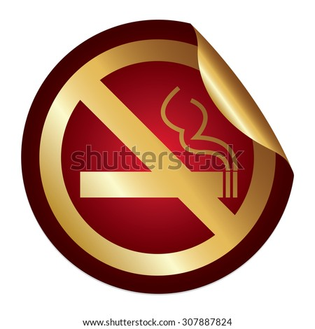 Red Metallic No Smoking Prohibited Sign Infographics Peeling Sticker, Icon or Label Isolated on White Background  - stock photo