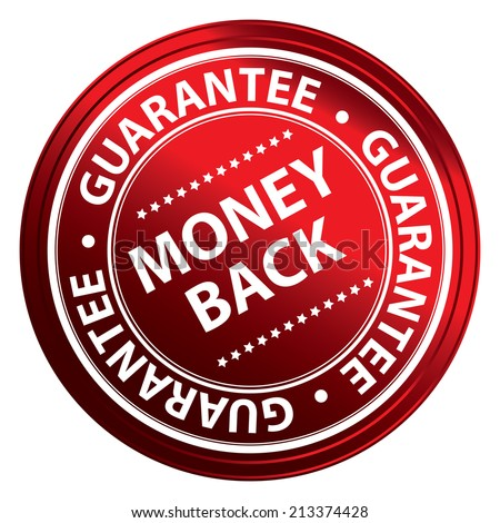 Red Metallic Style Money Back Guarantee Icon, Badge, Label or Sticker for Product Warranty, Quality Assurance, CRM or Customer Satisfaction Concept Isolated on White Background  - stock photo