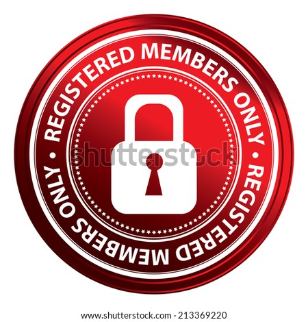 Red Metallic Style Registered Members Only Icon, Badge, Label or Sticker for Business or Security Concept Isolated on White Background  - stock photo