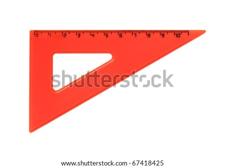 Red metric plastic triangle isolated on white background with clipping path - stock photo