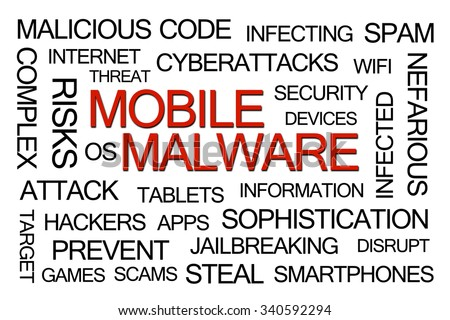 Red Mobile Malware Word Cloud on White Background - stock photo