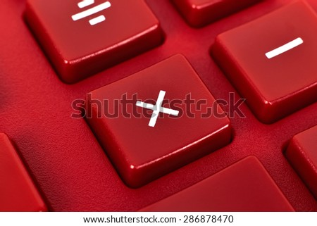 Red Modern Calculator Keyboard, Super Close Up - stock photo