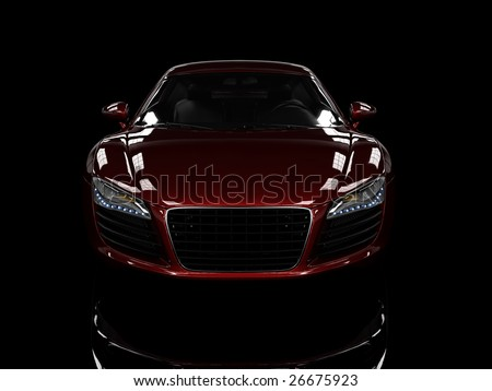 Red modern car isolated on black background. isolated on black background. Excellent material for web banners - stock photo