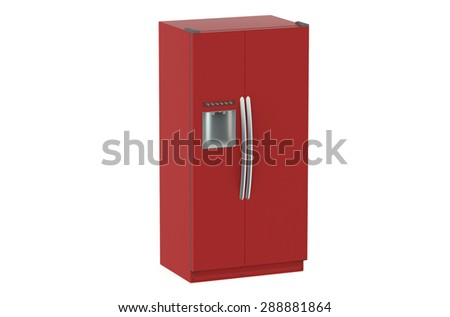 Red modern fridge isolated on white background - stock photo