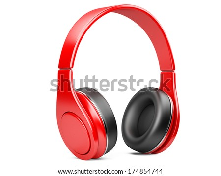 red modern headphones. 3d illustration isolated on a white background - stock photo