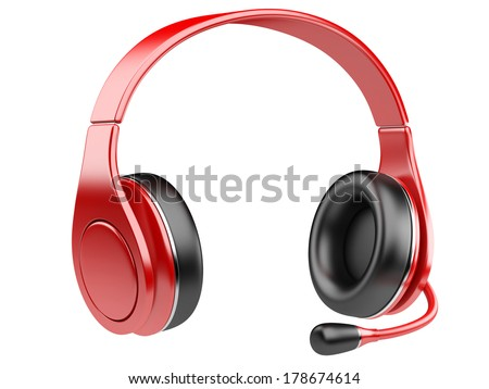 red modern headphones with microphone isolated on white background - stock photo