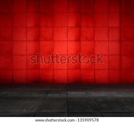 red modern interior - stock photo