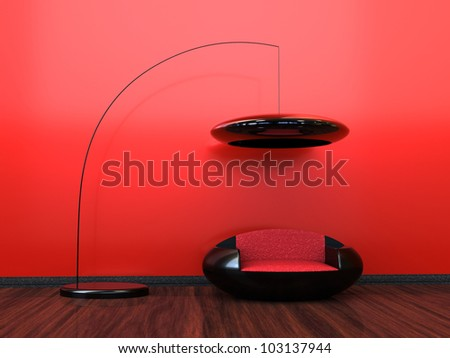 Red modern interior with a futuristic look - stock photo