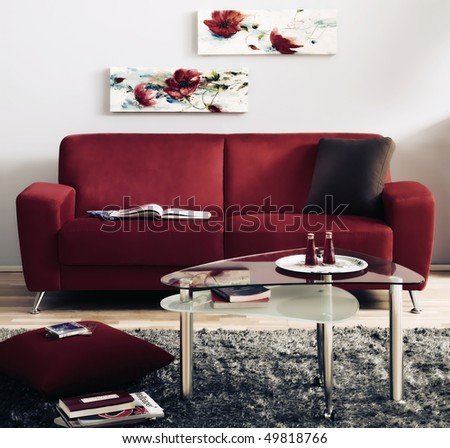 red modern living room - stock photo
