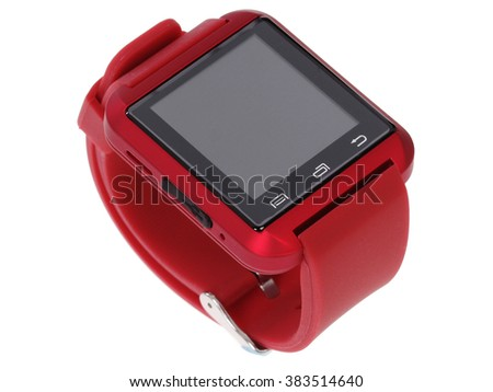 red modern smart watch isolated on white background