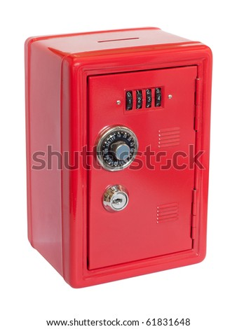 Red moneybox (piggy bank) made as safe. Isolated on white background with clipping path. - stock photo