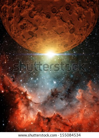 """Red Moon - """"Elements of this image furnished by NASA"""" - stock photo"""