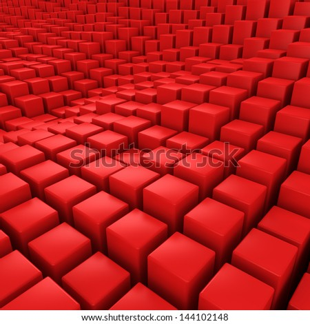 Red mosaic surface with convex effect - stock photo
