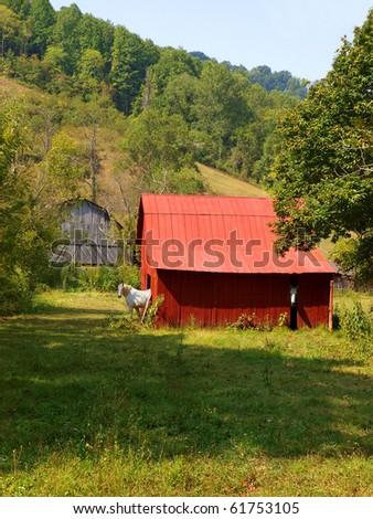 red mountain barn - stock photo
