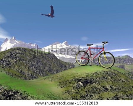 Red mountain bike at the mountain by summer day with eagle flying in the blue sky - stock photo