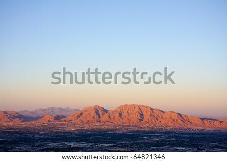 red mountains near las vegas at sunset - stock photo