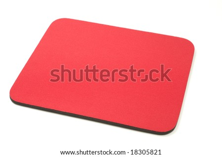 Red mouse-pad isolated on white background - stock photo