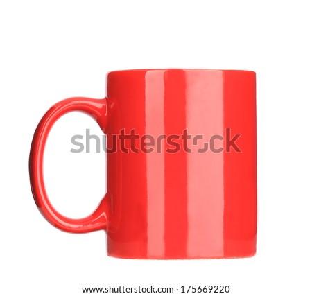 red mug. isolated on a white background - stock photo