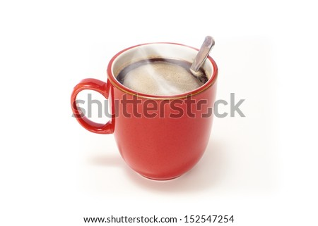 Red mug of coffee on a white isolated background. - stock photo