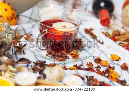 red mulled wine - stock photo