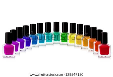 red nail polish bottle on white background - stock photo