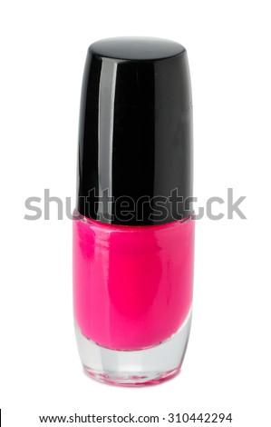 Red nail polish isolated on white background. - stock photo