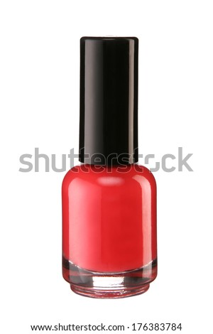 Red nail polish / product photography of glass vial with black lacquer cap  - stock photo