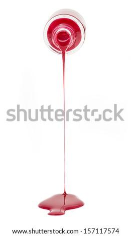 Red nail polish splitt - stock photo
