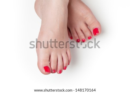 red nails after pedicure - stock photo